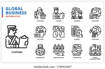 Global business icon set for web design, book, magazine, poster, ads, app, etc.