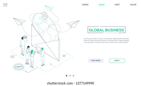 Global business - line design style isometric web banner on white background with copy space for text. A header with male, female colleagues, big envelope with a globe inside. Email marketing concept
