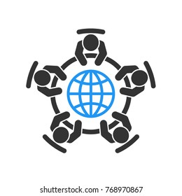 Global business meeting and teamwork  icon. Group of five people in conference room sitting around a table brainstorming and working together on new creative projects. Flat vector design.