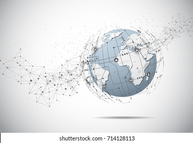 Global business network connection. World map point and line composition concept of global business. Vector Illustration