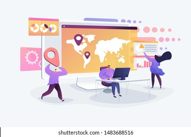 Global business research, international company extension strategy. Social media dashboard, online marketing interface, social media metrics concept. Vector isolated concept creative illustration