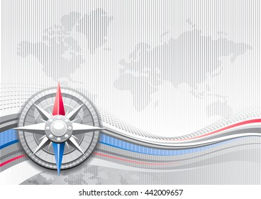 Global business travel abstract background with stripped silver pattern and world map. Realistic icon and copy space for text. For tourism agency, communications and other summer vacation designs