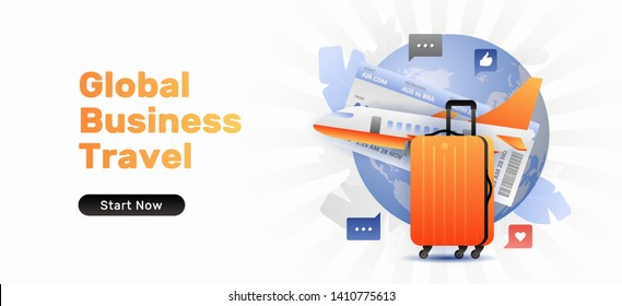Global business travel banner template with orange suitcase and airplane. Vector template of travel or bisiness travel, vacation or journey. Horizontal on white background.
