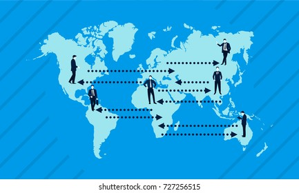 Global businessman communication connection, Global partnership and teamwork of businessman, Businessman Mascot concept