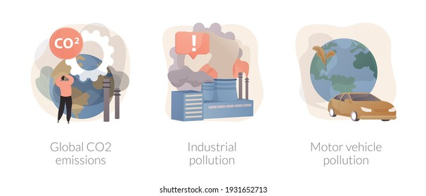 Global carbon footprint abstract concept vector illustration set. Global CO2 emissions, industrial pollution, motor vehicle emission reduction, greenhouse effect, transportation abstract metaphor.