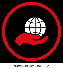 Global Care vector icon. Style is bicolor flat circled symbol, red and white colors, rounded angles, black background.