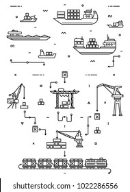 Global cargo logistics concept. Sea delivery with freight ships, port and freight cranes. Rail transportation. Flat infographics. Linear thin illustration.