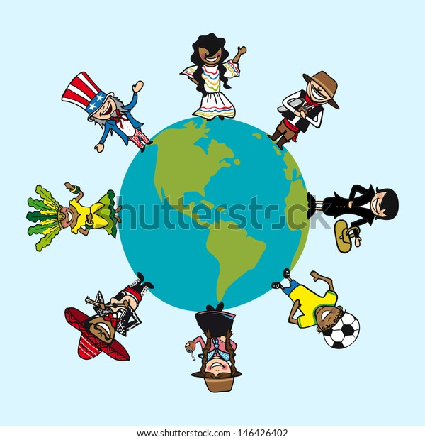 Global cartoon persons with distinctive outfit. Vector illustration layered for easy editing.