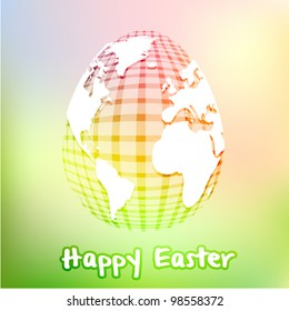 Global checkered easter egg concept on fresh green pastel mesh background