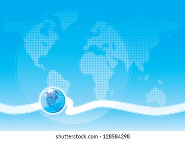 Global communication. Blue abstract background with world map and globe