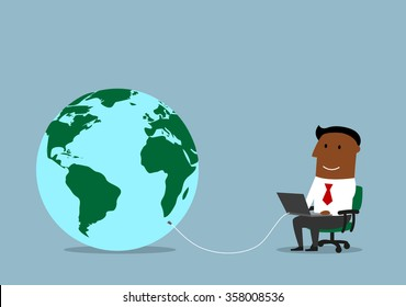 Global communication, business network technologies and www concept design. Cartoon businessman working on a laptop computer, connected to a huge globe as symbol of the global network