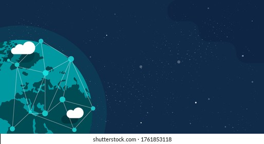 Global communication future technology business around the planet world from space web banner concept or earth internet social worldwide network vector flat cartoon illustration design copy space text