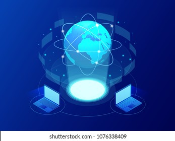 Global communication Internet network around the planet. Network and data exchange over planet. Connected satellites for finance, cryptocurrency or IoT technology
