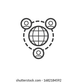 Global communication line icon. linear style sign for mobile concept and web design. People network connection outline vector icon. Symbol, logo illustration. Vector graphics