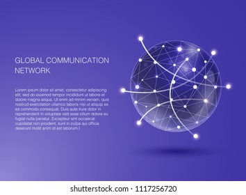 Global communication network. Flat Design Illustration for Web Sites Infographic. Communication Systems and Technologies.