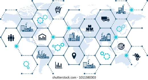 global company network - growth, trade & logistics - vector illustration