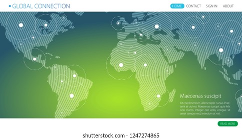 Global connection business vector banner