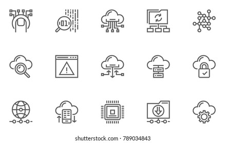 Global Connection, Cloud Data Technology Services, Information Technology Line Icons. Editable Stroke. 48x48 Pixel Perfect.