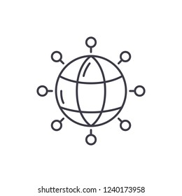 Global connections line icon concept. Global connections vector linear illustration, symbol, sign