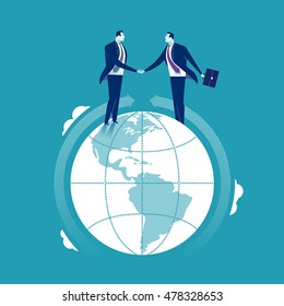 Global Cooperation. Businessmen shaking hands at the globe. Concept business illustration
