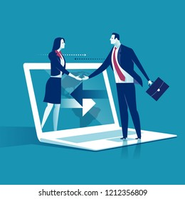 Global cooperation on the Internet. Business people shaking hands through laptop monitor. Business concepts of vector illustration