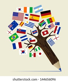Global countries  concept pencil tree design. Vector illustration layered for easy manipulation and custom coloring.