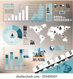 Global crude oil drilling and refining industrial process petroleum production distribution business infographic statistic presentation vector illustration