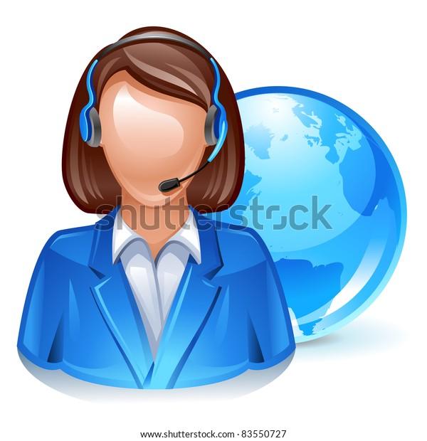 Global Customer Service Representative Icon Stock Vector