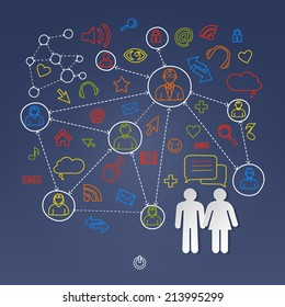 Global cyberspace social network concept vector