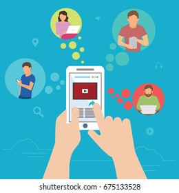 Global data sharing data concept vector illustration of young people using mobile smartphone to share posts and news in social networks. Flat hand holds smart phone to make repost of video and news.