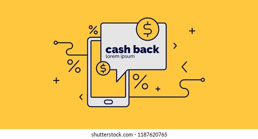 Global Digital technologies. Mobile payment for purchases and cash back. Vector illustration