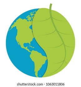 global earth planet with leaf to ecology care