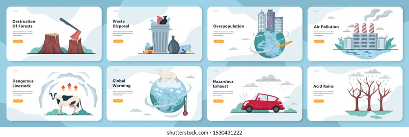 Global ecology problems set. Environmental disaster, earth in danger. Deforestation and climate change. Isolated vector illustration in flat style
