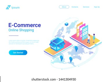 Global E-commerce and Online Shopping concept isometric flat vector illustration. People Buy Pay with Smartphone in web shop and get goods.