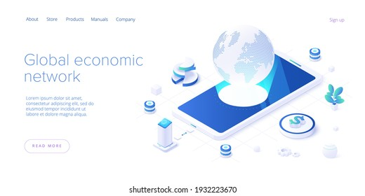 Global economic network in isometric vector illustration. World economy or global financial map concept. International business. Web banner layout template.
