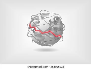 Global economic recession concept as vector illustration. Declining world economy represented by globe and world map with flat design.