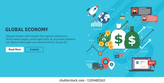Global economy, business chart and trade success. Money and success in startup. Finance, business, startup and e-commerce icons, chart and data. Flat design vector illustration.