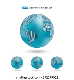 Global economy concept. Globe as a barcode. Planet earth in different views of the continents. Vector design elements.