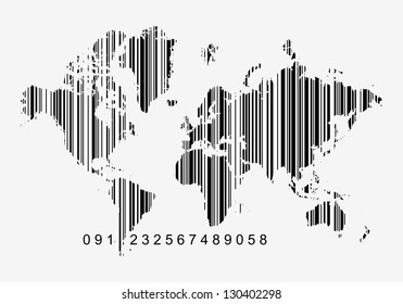 Global economy concept, world map as a bar code - white bars can be opaque or transparent just toggle layer on or off
