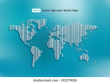 Global economy concept. World map as a barcode. Vector design element.