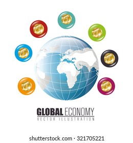 Global economy and market design, vector illustration.