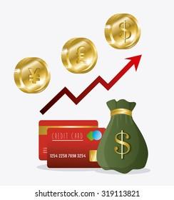 Global economy, money and business design, vector illustration