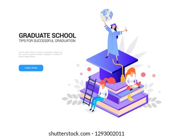 Global education success concept isometric. Graduation school 3d isolated. Diploma receiving. E learning in online library vector illustration