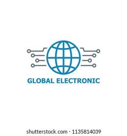 global electronic logo vector template