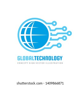 Global electronic technology logo design. Computer network sign. Vector.