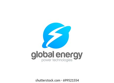 Global Energy Power Planet with Flash Thunderbolt Logo design vector template. World universe technology Logotype concept. Negative space style icon.