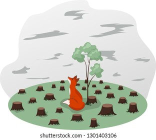 Global environmental problem, deforestation, ecological disaste. Vector Illustration