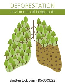 Global environmental problems. Exhaustion of land resources infographic. Deforestation. Vector illustration