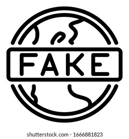 Global fake news icon. Outline global fake news vector icon for web design isolated on white background