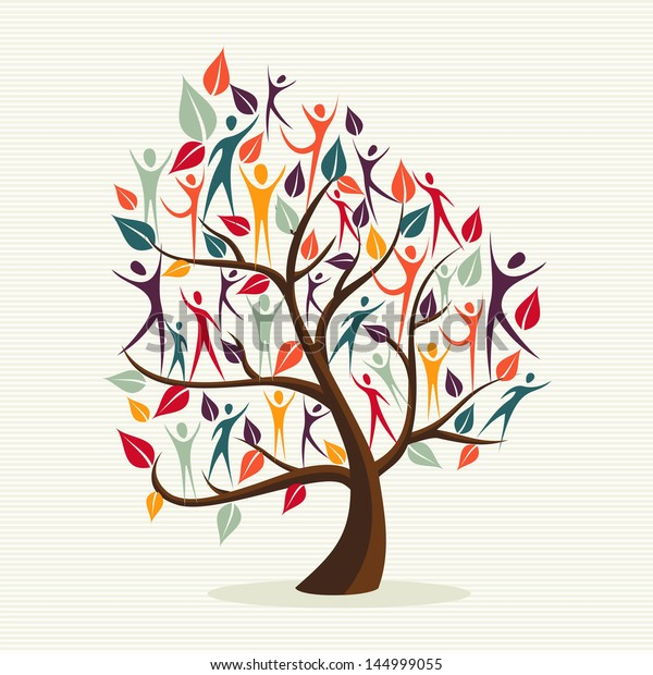 Global Family human shapes colorful leaf conceptual tree. Vector file layered for easy manipulation and custom coloring.